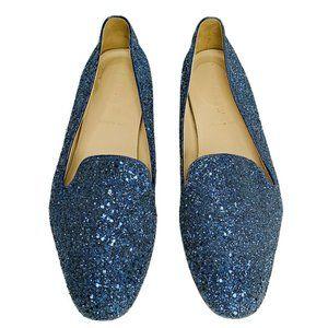 J. CREW Darby Glitter Loafers 8 Blue Flats 03674